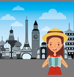 Happy girl traveler holding folded map and vector