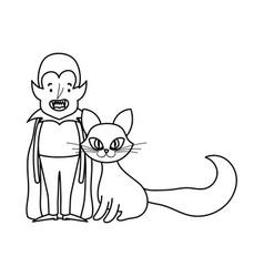 happy halloween celebration boy dracula and cat vector image