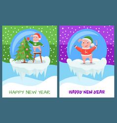 Happy new year piglet decorating evergreen tree vector