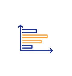 horizontal chart line icon column graph sign vector image
