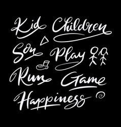 Kid and children hand written typography vector