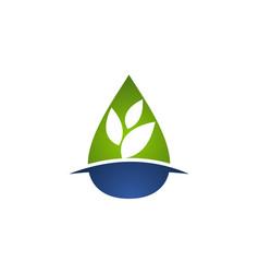 Leaf water logo design template vector