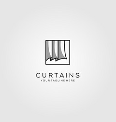 Line art curtains logo simple design vector