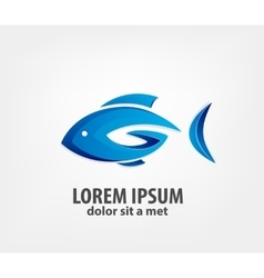 Logo fish 3d vector