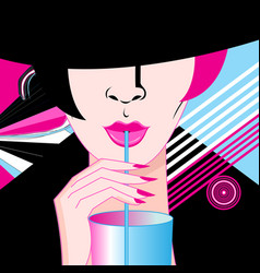 lovely portrait a girl drinking a cocktail vector image