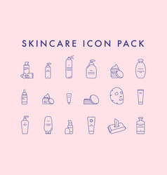 make-up and cosmetic line icon set vector image
