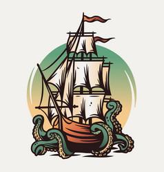 Marine nautical sea ship and kraken wanderlust vector