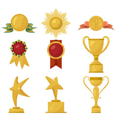 medals and gold cups collection vector image vector image