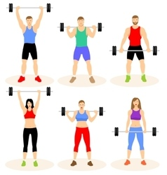 Men and women with barbell vector image