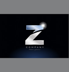 Metal blue alphabet letter z logo company icon vector