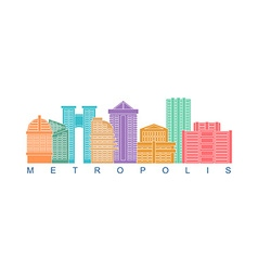 Metropolis building color logo Skyscrapers emblem vector