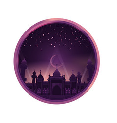 Mosque in purple color sky night vector