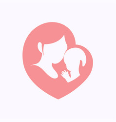 Mother holding her little baby in heart shaped vector