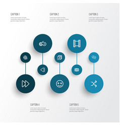 Multimedia outline icons set collection of film vector