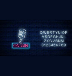 neon on air sign with retro microphone with vector image