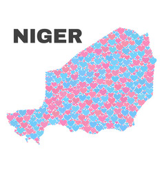 Niger map - mosaic of valentine hearts vector