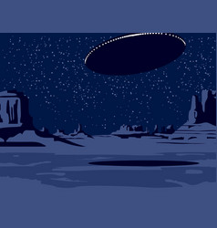 Night western scenery with deserted valley and ufo vector