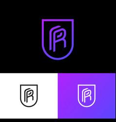 p and r logo human resources emblem shield vector image