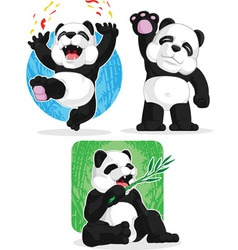 Panda Set Happy Waving Hand Eating Bamboo vector image