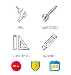 paper knife school supplies and scissors icons vector image