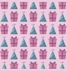 Party hat with gift box present pattern vector
