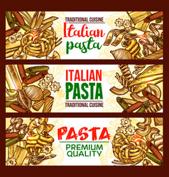 Pasta sketch banner of italian spaghetti macaroni vector