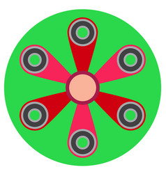Pink spinner with six blades a flat style vector