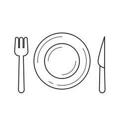 Plate with fork and knife line icon vector