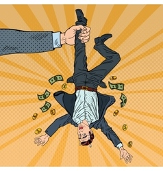 Pop Art Businessman Loosing his Last Money vector