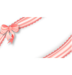 realistic tied the corners pink bow and satin vector image