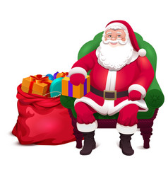 Santa claus sit in chair and give bag gifts vector