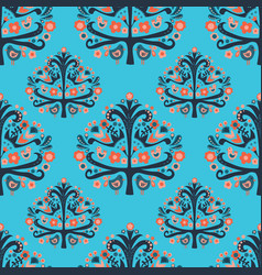 scandinavian folk art tree birds seamless pattern vector image