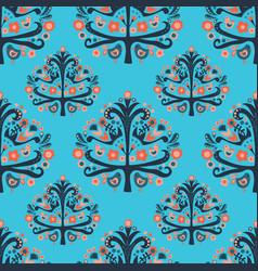 Scandinavian folk art tree birds seamless pattern vector