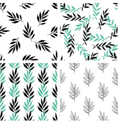 seamless patterns with green leaves vector image