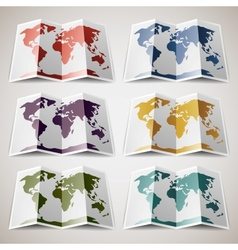 Set of retro colored maps of the world vector