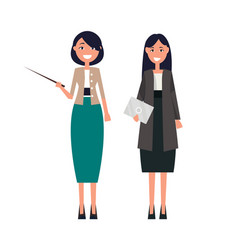 set of women teachers pointer and tablet in hand vector image
