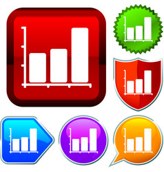 Set shiny icon series on buttons bar chart vector