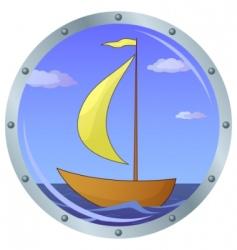 Ship in a window vector