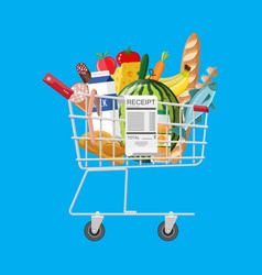 Shopping cart full of groceries and receipt vector