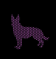 silhouette of german shepherd filled with pink vector image