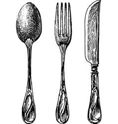 Sketches a set cutlery vector