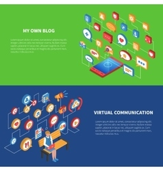 Social Network Isometric Banner Set vector