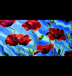 Stone poppies oil canvas vector