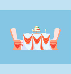 Table served plates glasses wedding cake vector