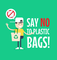 The boy with tote bag say no to plastic bags vector