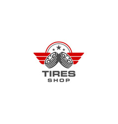 tires shop logo design template silhouette tire vector image