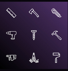 tools icons line style set with hammer vector image