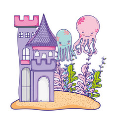 Undersea castle cartoon vector