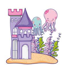 undersea castle cartoon vector image