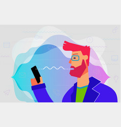 Using voice assistant concept banner trendy vector